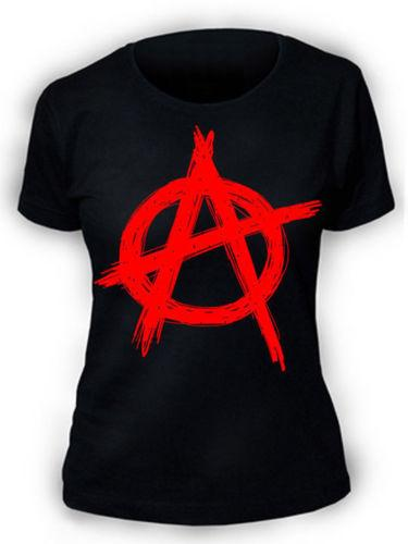 T-Shirt Anarchy SCREENPRINTED Donna Womens Rock Punk Metal Biker Maglietta con stampa Kawaii Maglietta donna