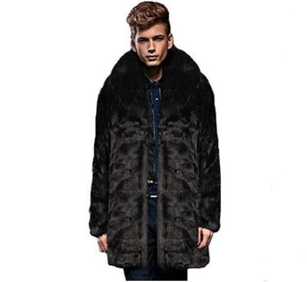 Men's autumn winter leisure fashion new boutique xieshen personality trend business hair collar rabbit fur coat jacket / S-3XL