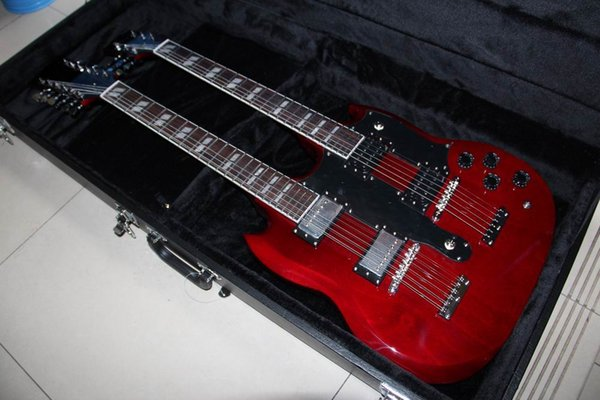 Free Shipping double necks G 1275 model electric guitar Wine Red Jimmy Page style 12/6 strings electric guitar with hardcase IN RED 121209