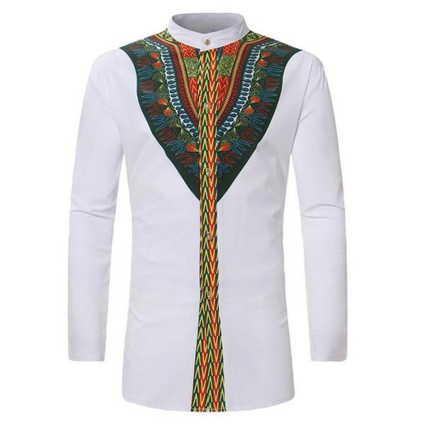 Vintage 2018 Men Ethnic Print Top Tees Long Sleeve Stand Collar African Print Dashiki Shirt Hip Hop White Men Clothing