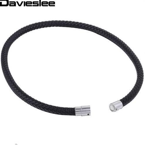 Dünne braune schwarze geflochtene Schnur Seil Mann gemacht Leder Halskette für Männer Chocker Silber Ton Edelstahl Verschluss 4/6 / 8mm LUNM09