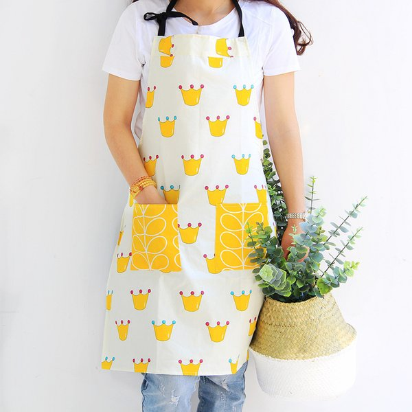 Bearpaw Women Men Cotton Linen Kitchen Apron For Cooking Baking Outdoor BBQ Restaurant Pinafore Crown Butterfly Leaf Pattern