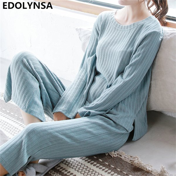 2018 Autumn Sleepwear 2 Pieces Pajama Set Women Long Sleeve Knitted Pyjama Nightwear Sleep Set Top Lounge Pants Loungewear T201