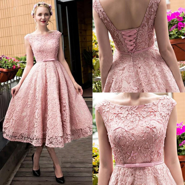 Free Shipping New Arrival Lace Applique Beading Sleeveless Cocktail Gown Elegant Jewel Tea Length Bow A-Line Lace-up Homecoming Dress