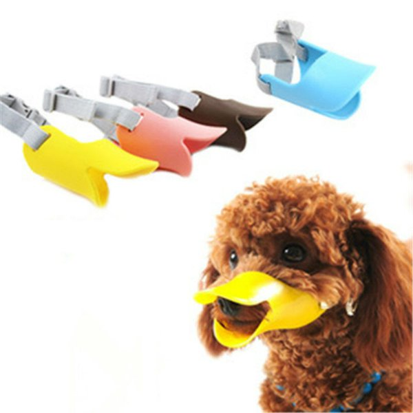1PC Dog Muzzle Silicone Cute Duck Mouth Mask Muzzle Bark Bite Stop Small Dog Anti-bite Masks For Dog Products Pets Accessories
