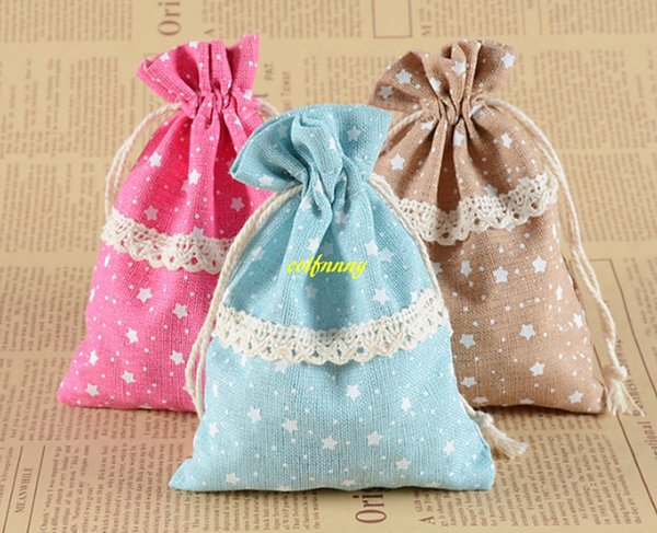 200pcs/lot Fast 10x14cm STAR Print Lace Drawstring Gift Bag Cotton Burlap Pouches Wedding Gift Bag Jewelry Packaging bags