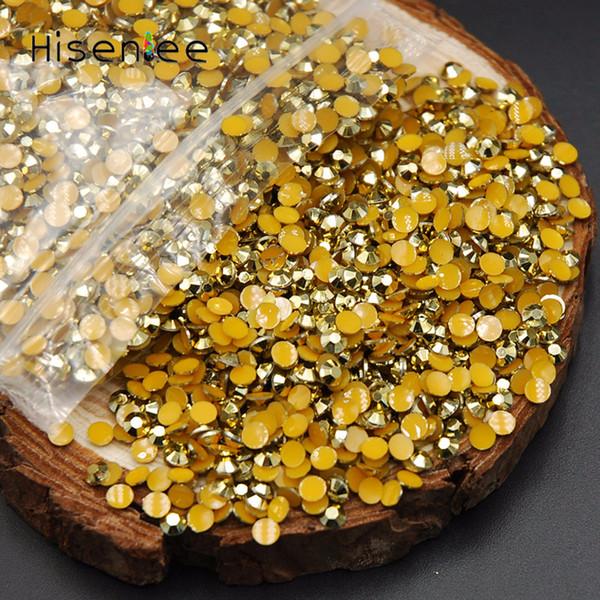 En iyi 2000 adet / paket Altın Hematit / Aurum AB Sihirli Renk 2mm Nail Art Reçine Jöle Rhinestones DIY Nail Art Telefon Kullanımı Için Tutkal