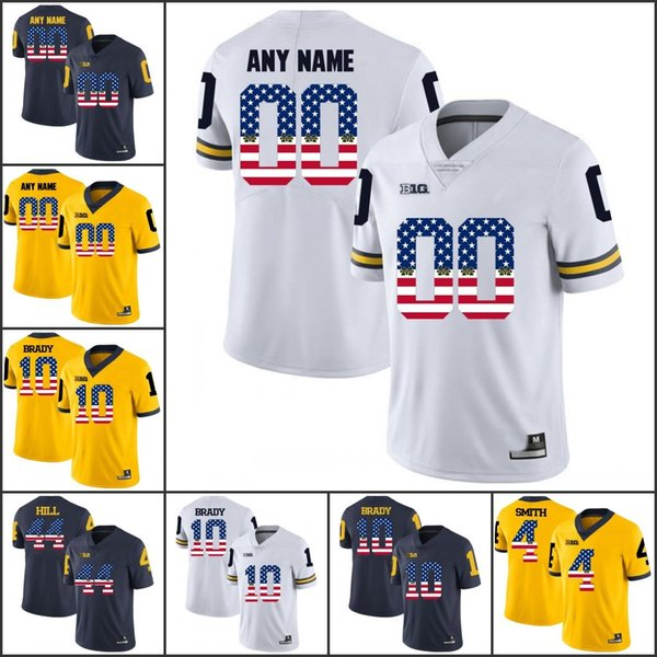 National flag Custom Michigan Wolverines College Football any name number Personalized Stitched Charles Woodson Tom Brady Jerseys