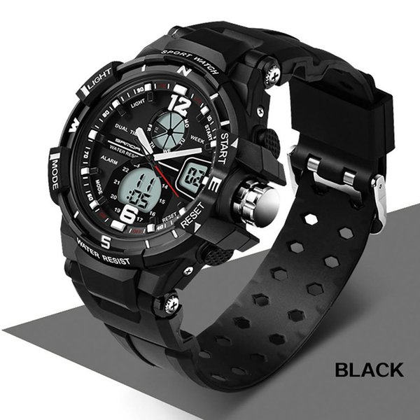LED Luminescent Digital Sport Watch Daily Waterproof Shockproof Silicone Band Alarm Sports Electronic Wrist Watch Men