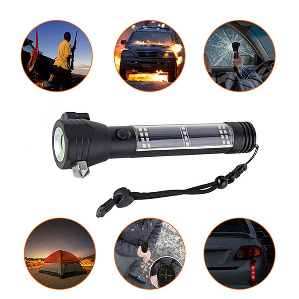 5000LM XM-L T6 Multifunction Emergency Torch Lights Led Solar Flashlight With Safety Hammer Compass Magnet Power Bank SOS