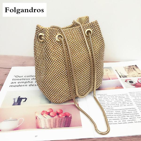 Diamond Shiny Mini Mobile Phone Handbag Female Messenger Bag Fashion Bucket Bag Web Celebrity Chain Shoulder Gold Silver Sac