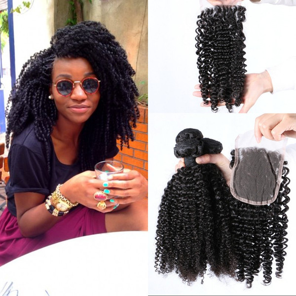 Kinky Curly Human Hair Bundles with Closure 4x4 Free Part Lace Closure with Mongolian Virgin Hair Weaves G-EASY