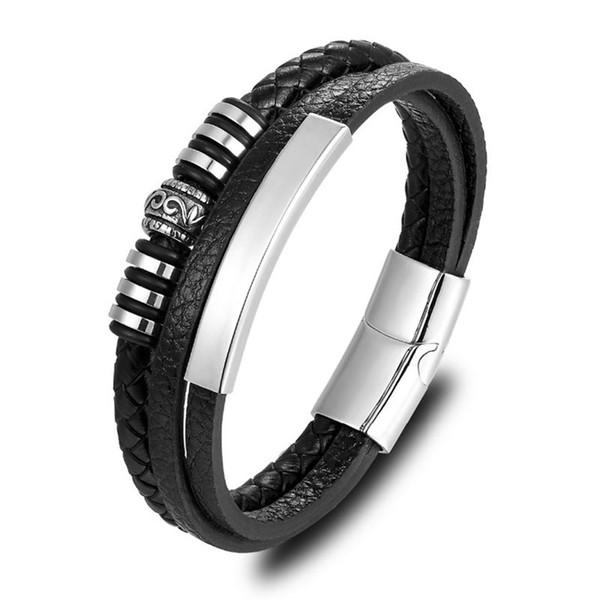 À la mode Hommes Bracelets Noir Tressé Multicouche Corde Chaîne En Cuir Bracelet De Mode En Acier Inoxydable Bracelet Bracelets D'anniversaire Cadeau