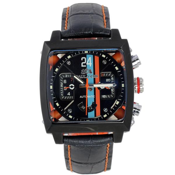 Hombres Automático Viento Automático Acero Inoxidable Negro Naranja Correa de Cuero Genuino Azul Deportes 40mm Ver a través del Reloj