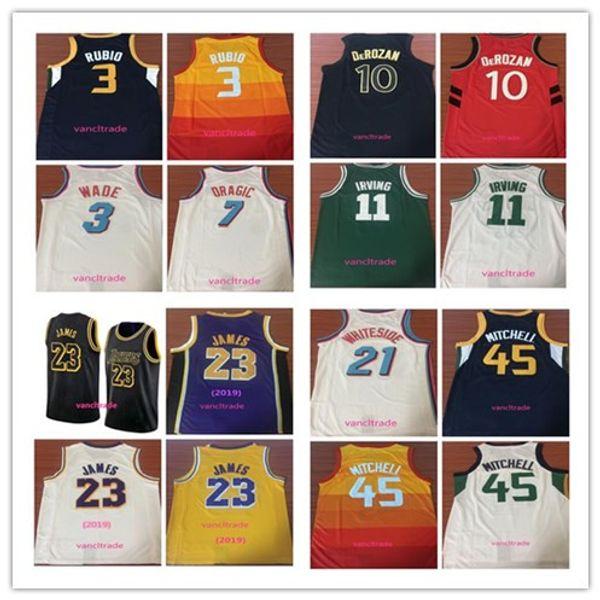 2019 Lakers 23 LeBron James 45 Donovan Mitchell 3 Dwyane Wade 10 DeRozan 21 Whiteside 7 Dragic 11 Irving 3 Ricky Rubio Basketball Jerseys
