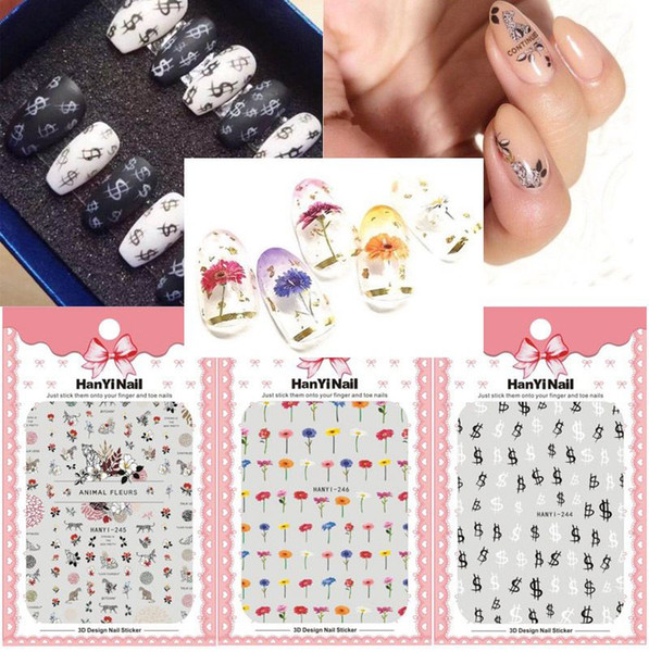 Nails Art Sticker Paper Money Symbol Dry Flowers Leopard Style Harajuku Fantacy Nail Wraps Sticker Decorations Tools