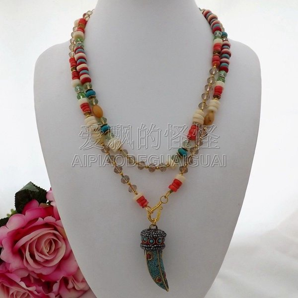 N071606 45'' Blue Stone Coral Crystal Macarsite Pendant Necklace