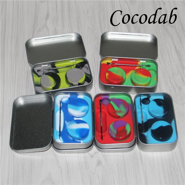 4 in 1 Tin Silicone Storage Kit Set with 2pcs 5ml Silicon Wax Container Oil Jar Base Silver Dabber Tool Metal Box Portable