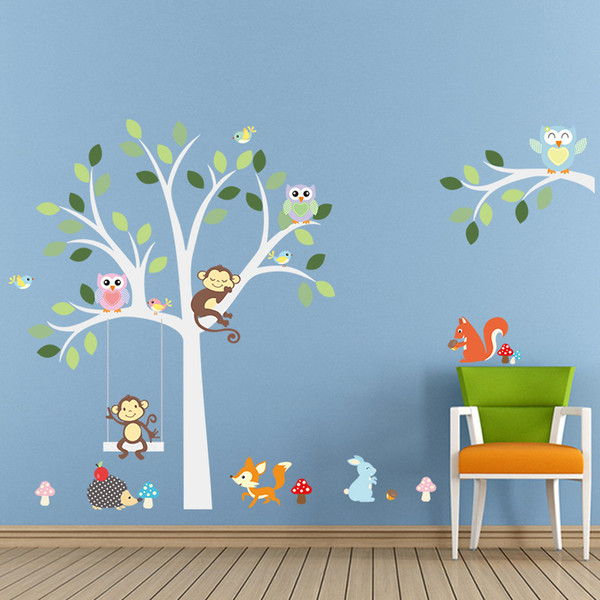 Colorful Monkey Owl Fox Wall Stickers Decal for Children PVC Eco-friendly Cartoon Animals and Tree Murals for Kids Room Nursery Decoration