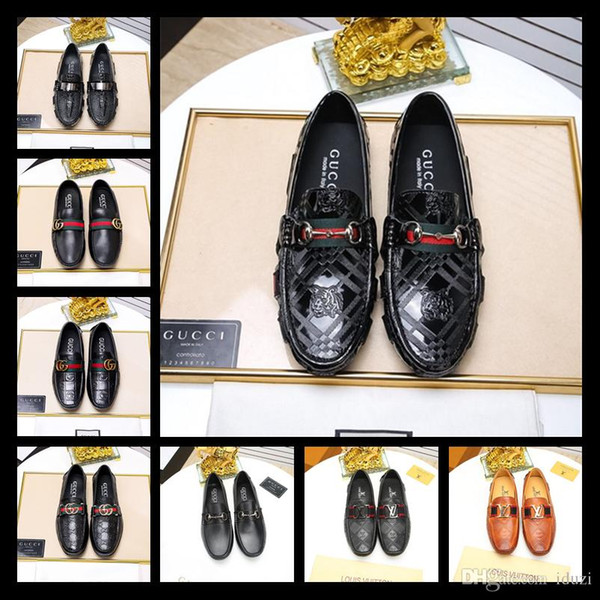 18ss Designer Luxury New Fashion Rhinestone Men Wedding Party Dress Shoes Multicolor Pointed Toe Genuine Leather Male Business Shoes 38-45