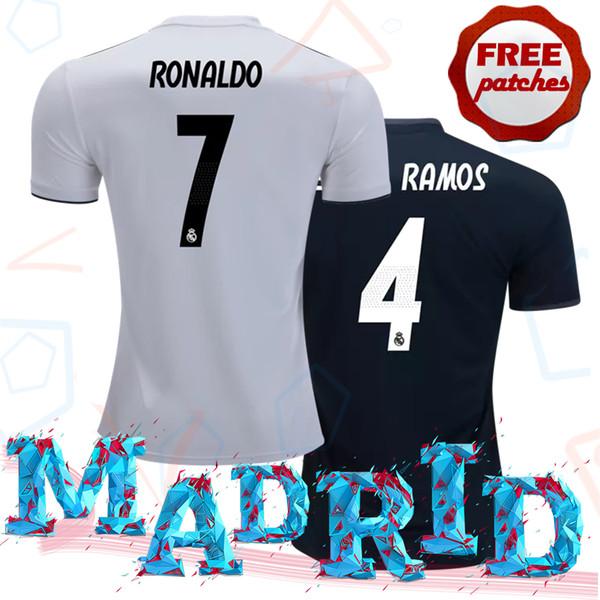 Top Thai Quality Madrid 2018 2019 Maglia da calcio per la casa in casa Camisa de Ronaldo Isco Maglia da calcio Marcelo Kroos Bale Casemiro XXL 3XL 4XL
