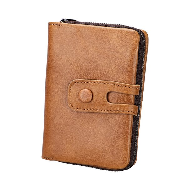 Fashion Men Wallet Genuine Leather Small Men Walet Zipper&Hasp Male Portomonee Short Coin Purse Brand Perse Carteira For Rfid