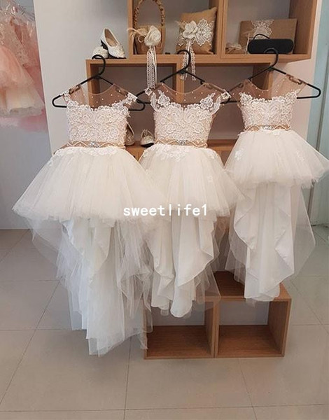 Real Image 2019 Sheer Jewel Neck Flower Girls Dresses Hi Low Tulle Lace Cape Sleeve First Communion Dresses Girls Pageant Gown Custom Made