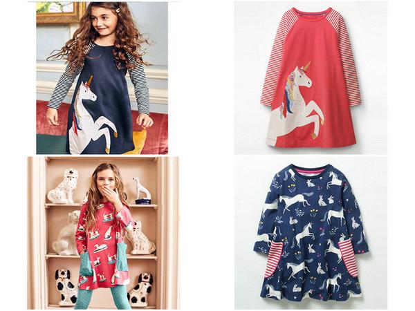 Baby Girls Unicorn Appliqued Princess Dress Bambini Cartone animato Tubo sirena fenicottero Animale Stampa boutique abbigliamento autunno Abito in cotone A-line