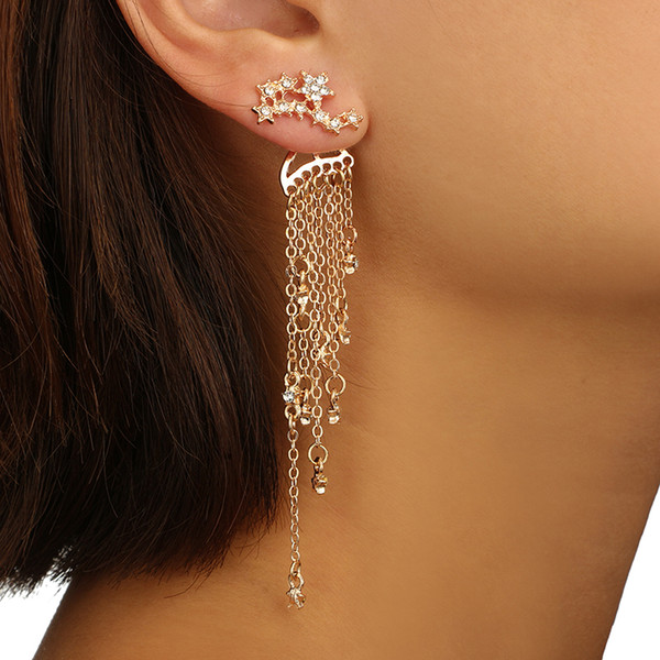 docona Punk Gold Silver Color Star Tassel Crystal Stud Earring for Women Vintage Metal Long Studs Earring Pendientes 6138
