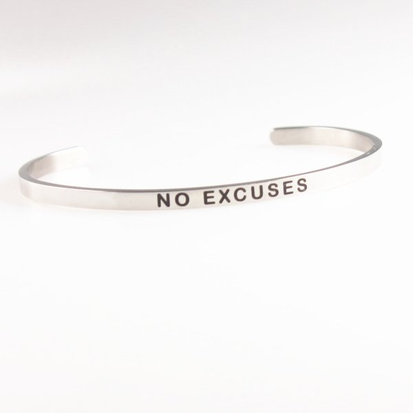2018 New Silver Stainless Steel Engraved NO EXCUSES Positive Inspirational Quote Hand Stamped Cuff Mantra Bracelet Bangle For Women Gifts