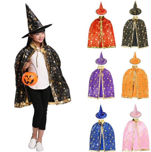 Baby Costume Wizard Witch Cloak Cape Robe +Hat Set Kid Adult Child Halloween Cosplay Props costumes KKA5840