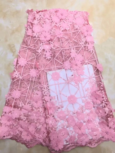 3d bead flower lace embroidered lace fabric sequine trim nigerian 2018 hot sale african french tulle lace fabric