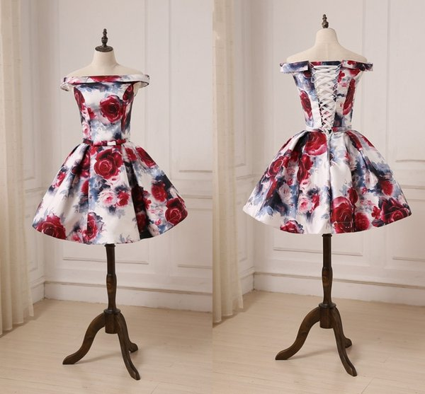 2018 Chic 3D Floral Flowers Homecoming Ball Gown Prom Dresses Short Cheap Off shoulder Corset Back Ribbon Bows Evening Cocktail dress Gowns