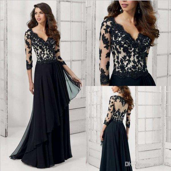 Hot sale fashion V-neck long-sleeved black jacquard Lace Beaded Long Sleeves Evening Gown Formal Women A Line Special occasion