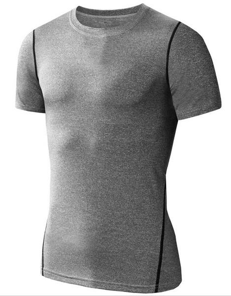 Nuovi uomini di modo pullover sport manica corta maglietta per la corsa palestra allenamento usura Baselayer fitness tee top compressione maglietta uomini
