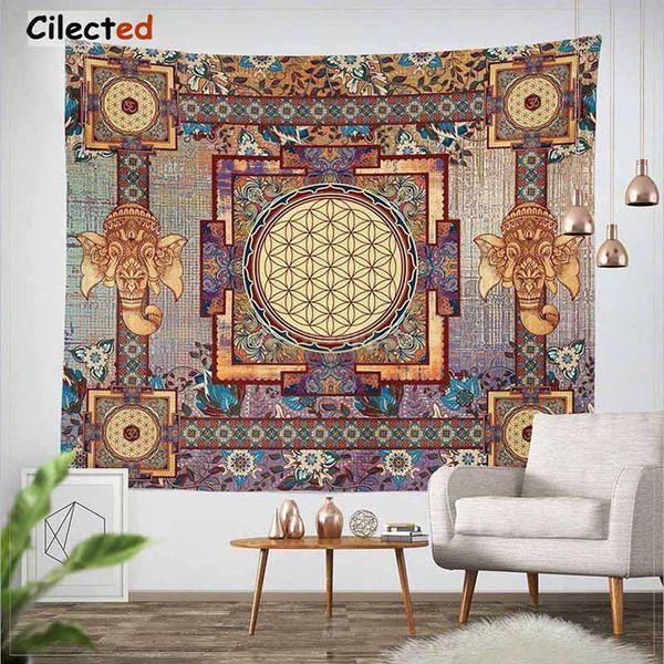 Cilected India Mandala Gobelin Gobelin Wandbehang Floral Gobelin Stoff Polyester / Baumwolle Hippie Boho Tagesdecke Tischdecken