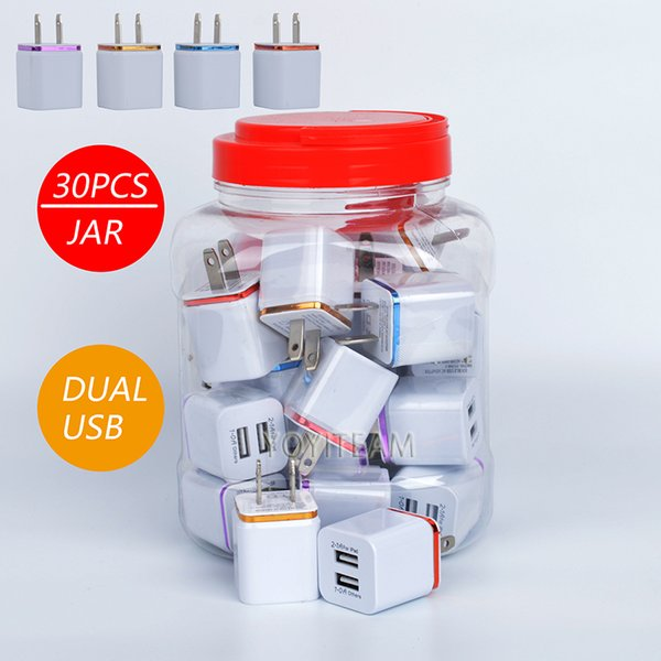 2 1a dual u b wall charger in pla tic jar charger any mobile phone with colorful frame wall adapter two u b port