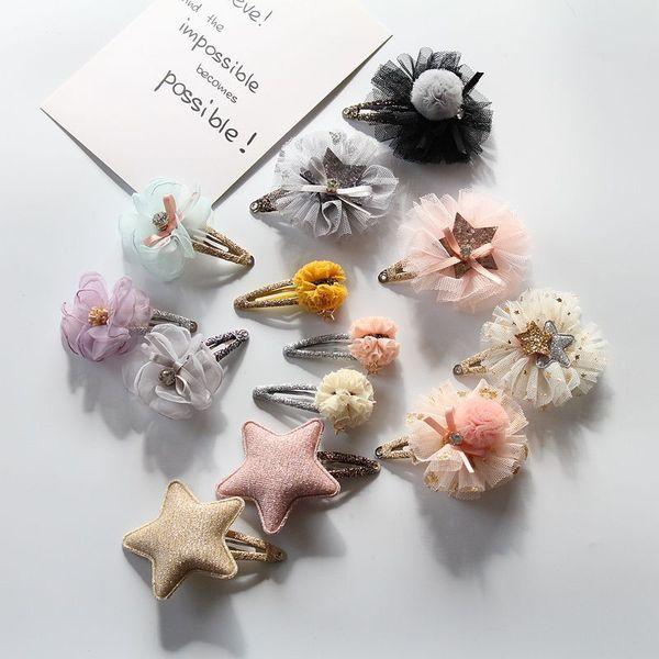 Hand-made flower Girls Hair Clips Crown clip Girl Crown Star baby Hairclips Hair Flowers kids barrettes Children Hair Accessories A9469