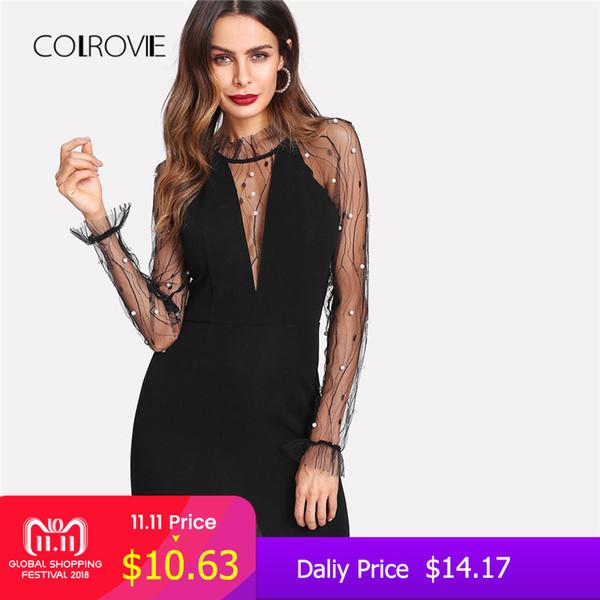 COLROVIE Schwarze Perle Sicke Vine Mesh Panel Kleid Frauen Rüschen Rundhals Langarm Sexy Kleid 2018 Party Bodycon Kleid C18111301