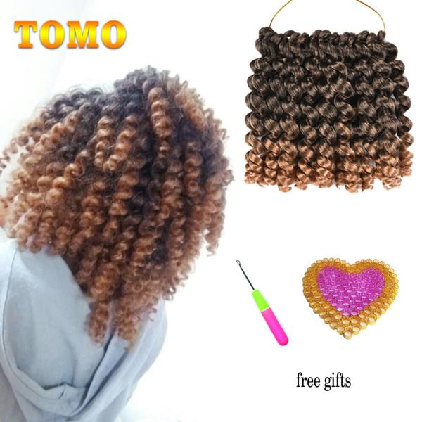 TOMO 8Inch Short Jumby Wand Curls Twist Crochet Hair Extensions Jamaica Bounce Curly Low Temperature Fiber Synthetic Braiding Hair Crochet