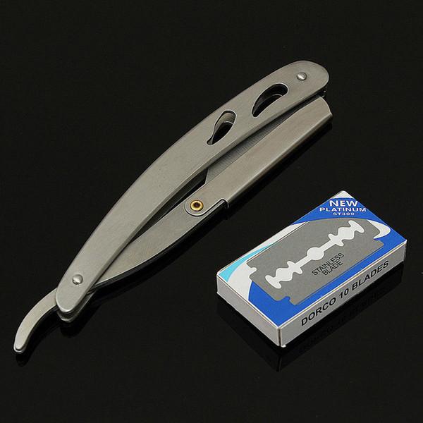 1x Straight Edge Stainless Steel Barber Razor Folding Shaving Knife + 10 Blades Straight Edge Barber Razor Folding Shaving Knife
