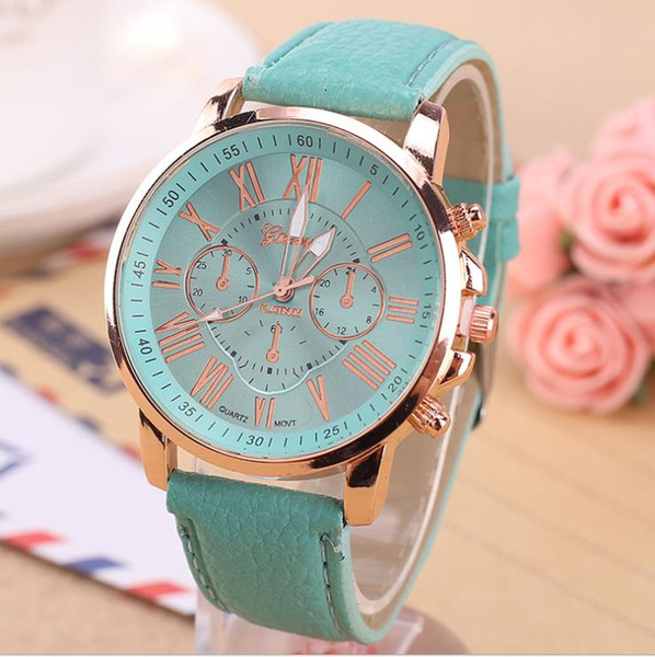 Double faced lady quartz watch fashion student lovers Leather Watch