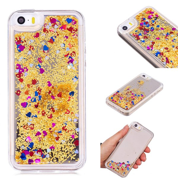 Cover For iPhone 5S SE Case Quicksand Flash Glitter Powder Mirror Hard Mobile phone Cases Covers