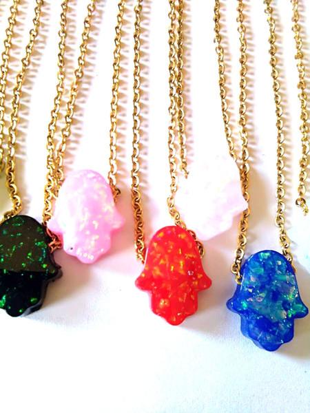 2018 fashion Necklace Blue Opal Pendant Necklace Stainless Women Hamsa Hand /Elephant /Round/Figure Necklace Jewelry
