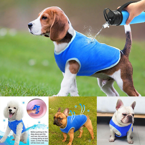 Summer Pet Dog Cooling Vest Coat Cool Down Puppy Sunstroke Prevent Jacket Clothes Cooling Fashion Harness Blue AAA783