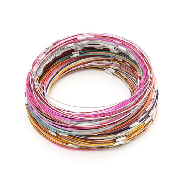 Alta calidad 200 unids alambre de acero inoxidable pulsera gargantilla resultados de la joyería que hacen el collar de alambre collar de cuerda de acero alrededor de 45 CM