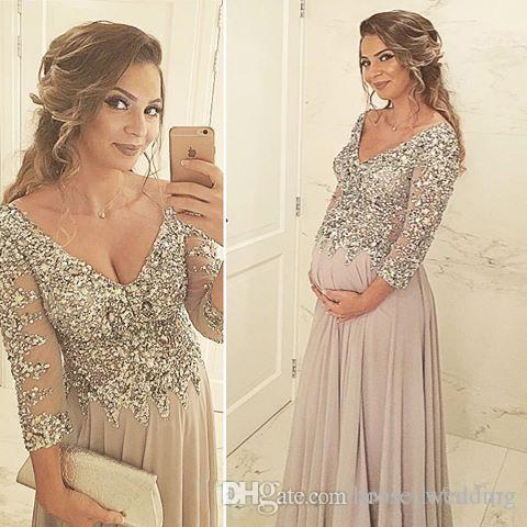 Luxury Bling A-Line Prom Dress for Pregnant Women Sexy V Neck Beaded Illusion 3/4 Long Sleeve Floor Length Chiffon Maternity Evening Dress