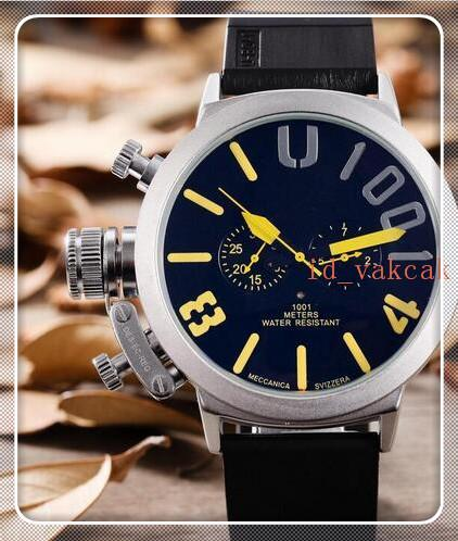 Men's New Luxury Brand Automatic Self Wind Mechanical U Silver Stainless Steel Black Rubber Silicone Strap Left Hook Big 50mm Boat Watch U03