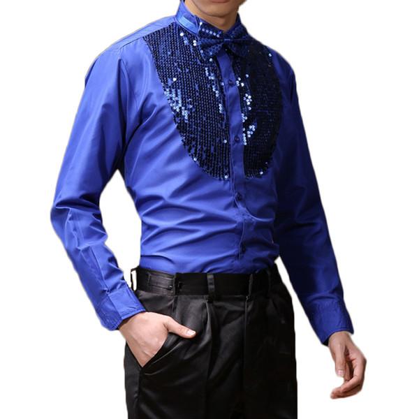 Männer Langarm männlichen Ballroom Dance Kleider Latin Dance Kostüme Baumwollmischung Pailletten Shirt moderne Tango Rumba Wear