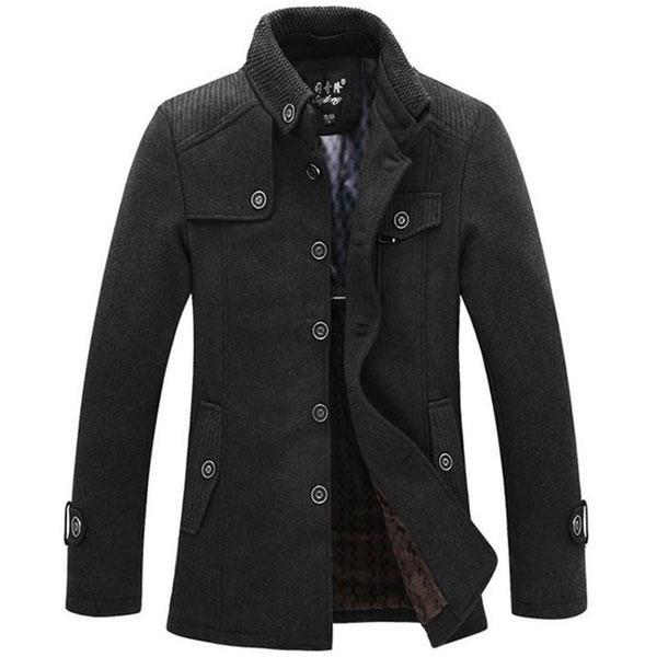 Mens Hot Fleece 2018 Jakets d'hiver pour les hommes Parcs Stand-up Collar Mens Windbreaker Casual veste en laine Épaissi manteau de laine